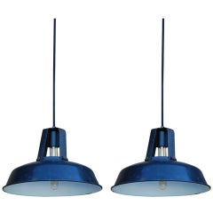 Pair of dark gray enameled French industrial lights