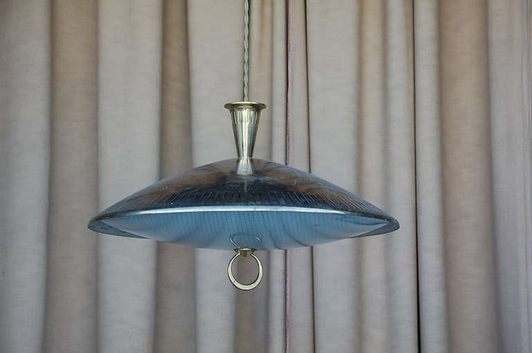American Chic brass and textured glass pendant light For Sale