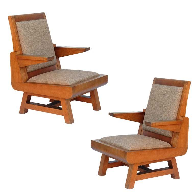 Pair of stunning architectural French 50's armchairs