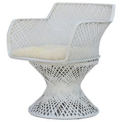 Vintage Spun Fiberglass Chair with Alpaca Seat Cover