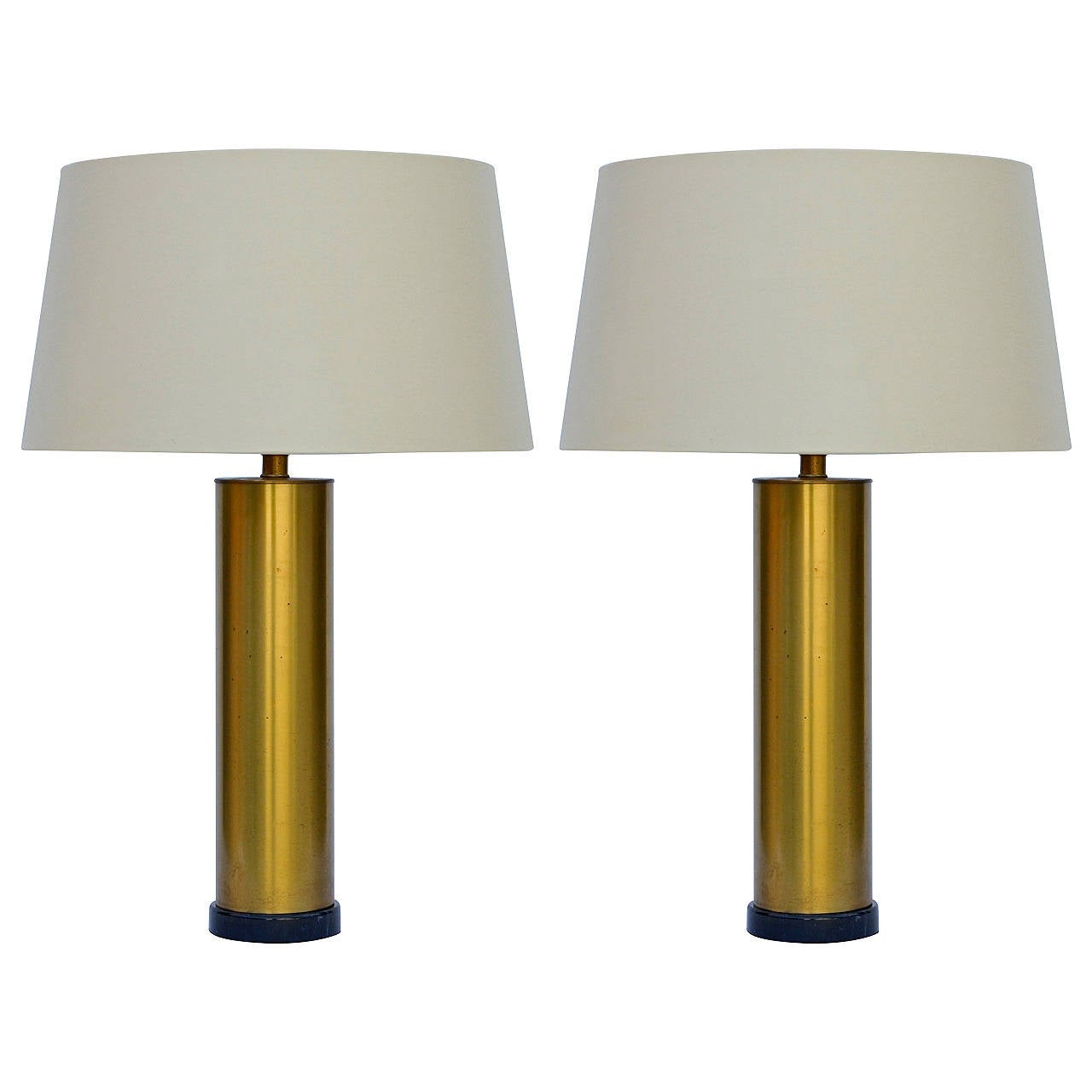 Pair Of Chic Brass Column Lamps With Custom Silk Shades At