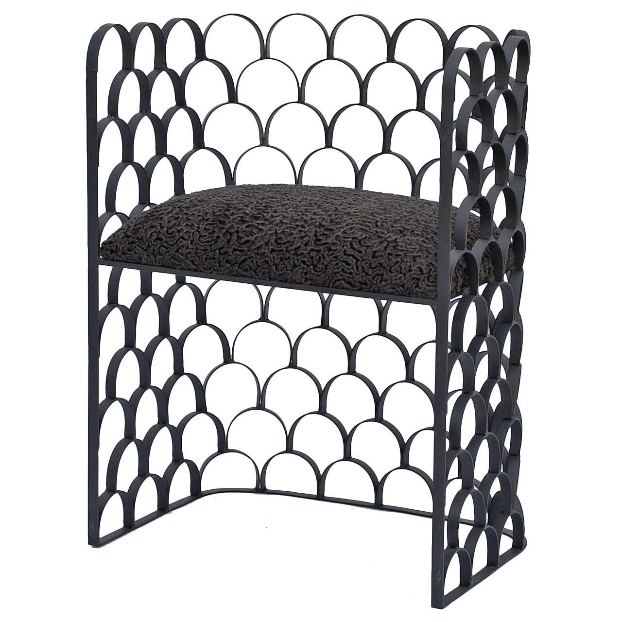 Sculptural Wrought Iron and Astrakhan Wool 'Arcature' Stool by Design Frères