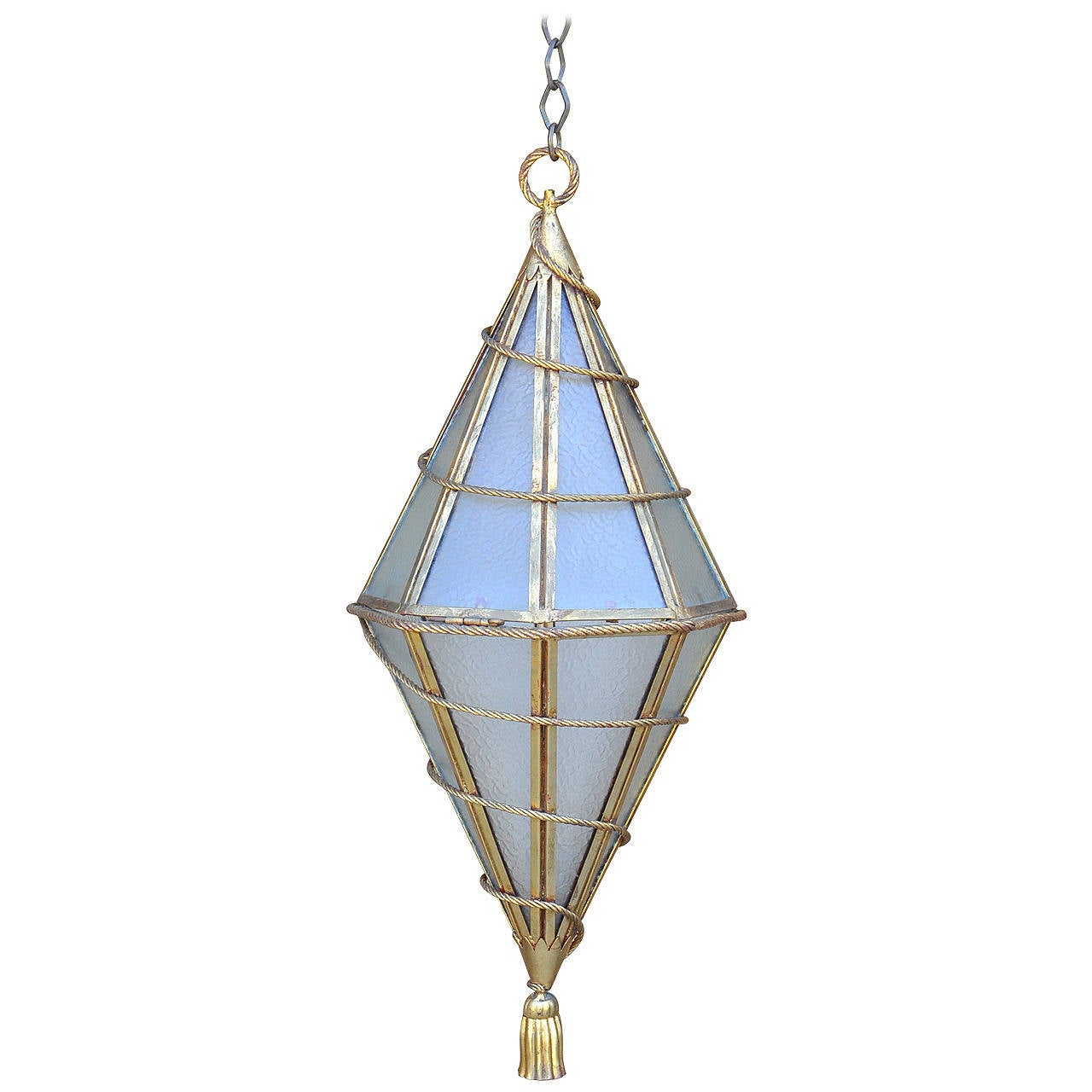 Large Italian Glass and Gilt Metal Geometric Hanging Lantern