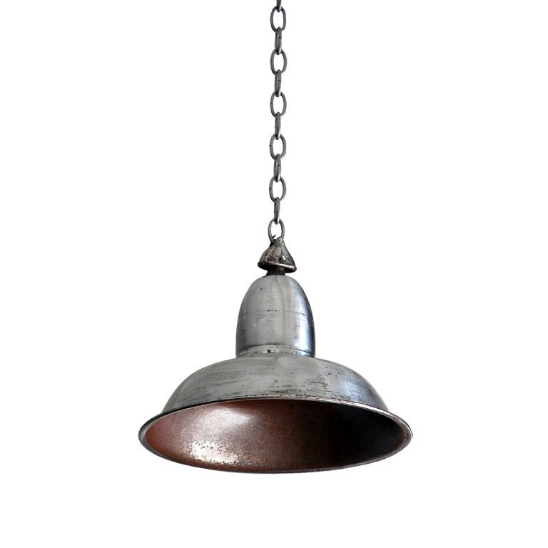 Polished Steel French Industrial Hanging Light For Sale
