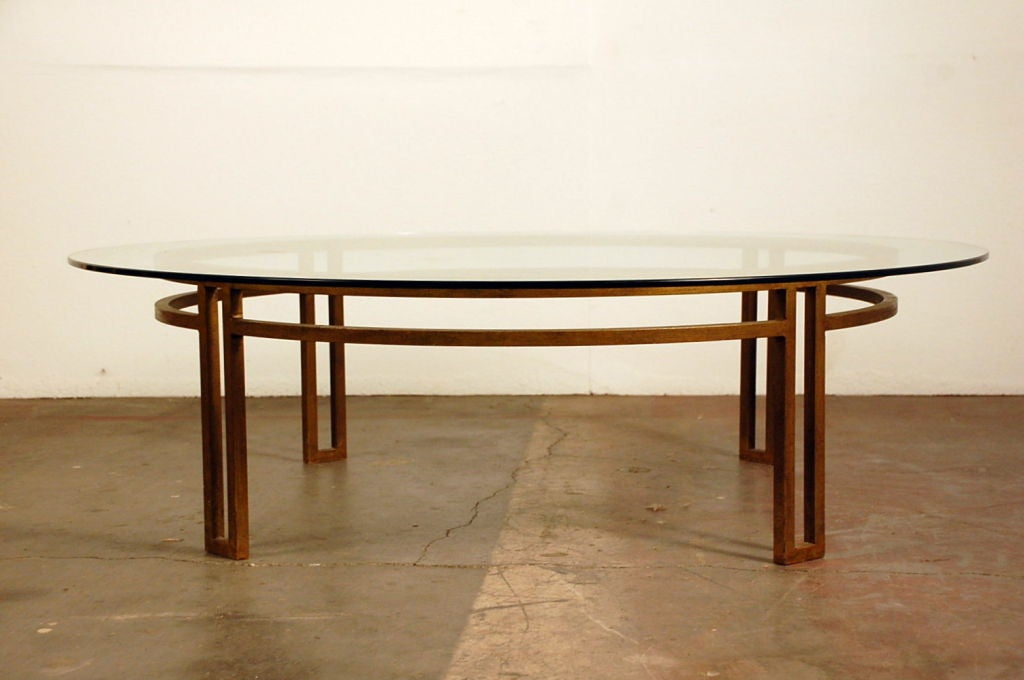Large Gilt Wrought Iron And Glass Round Coffee Table At 1stdibs