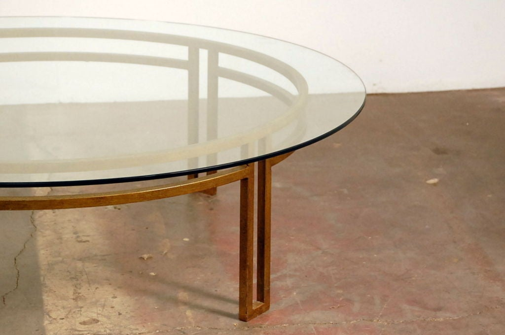 large gilt wrought iron and glass round coffee table at. Black Bedroom Furniture Sets. Home Design Ideas