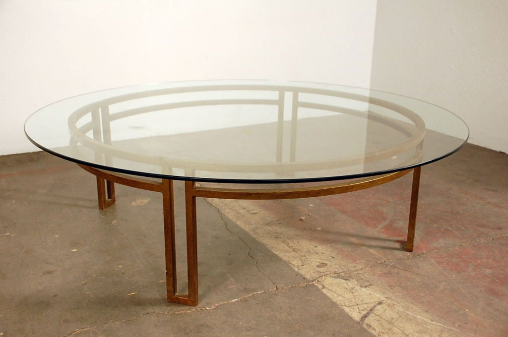 Large gilt wrought iron and glass round coffee table at for Large round glass top coffee table