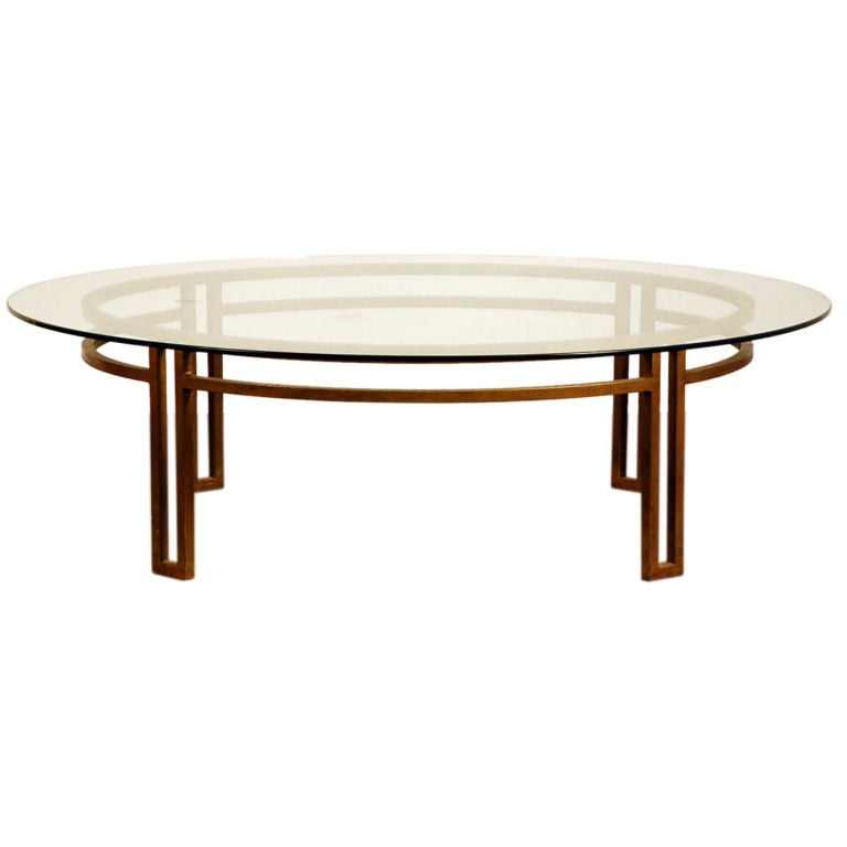 Large gilt wrought iron and glass round coffee table at for Oval wrought iron coffee table with glass top