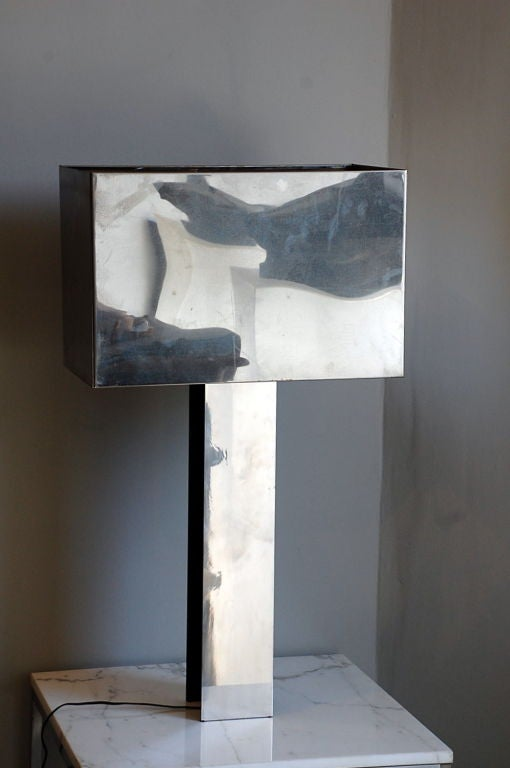 Brutalist Sculptural 1970s Chrome Table Lamp by Curtis Jere, Signed For Sale