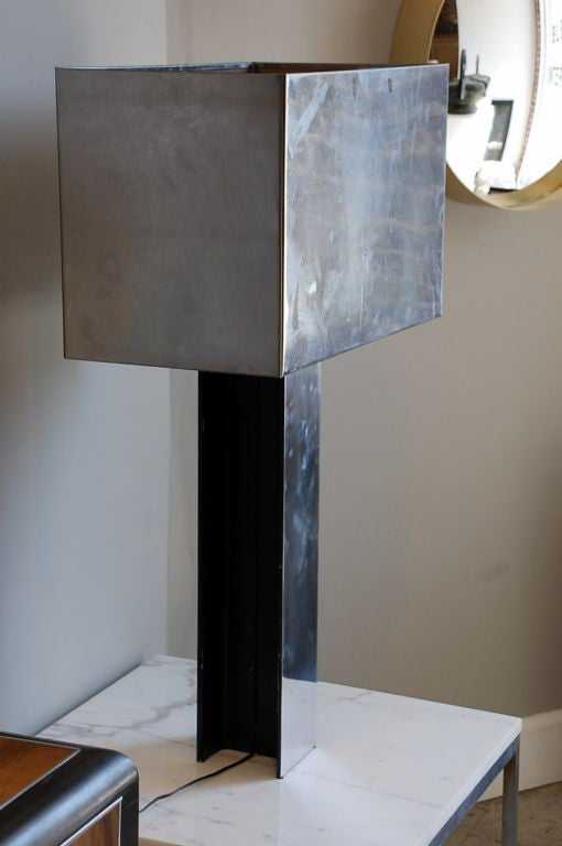 Sculptural 1970s Chrome Table Lamp by Curtis Jere, Signed In Excellent Condition For Sale In Los Angeles, CA