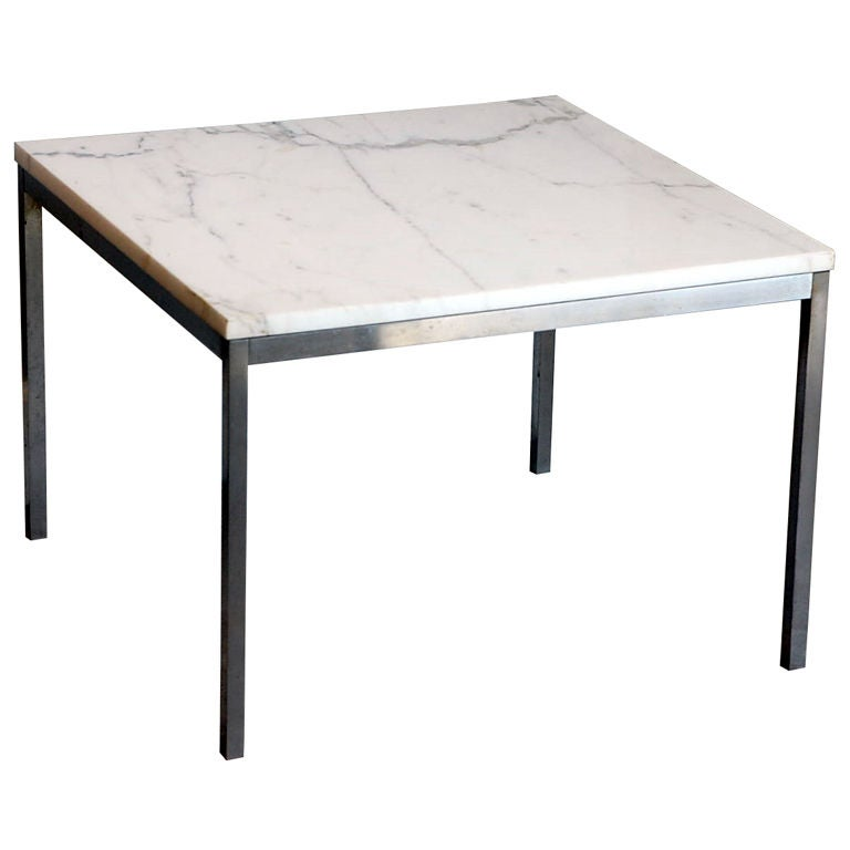 Original marble and steel coffee end table by florence Florence knoll coffee table