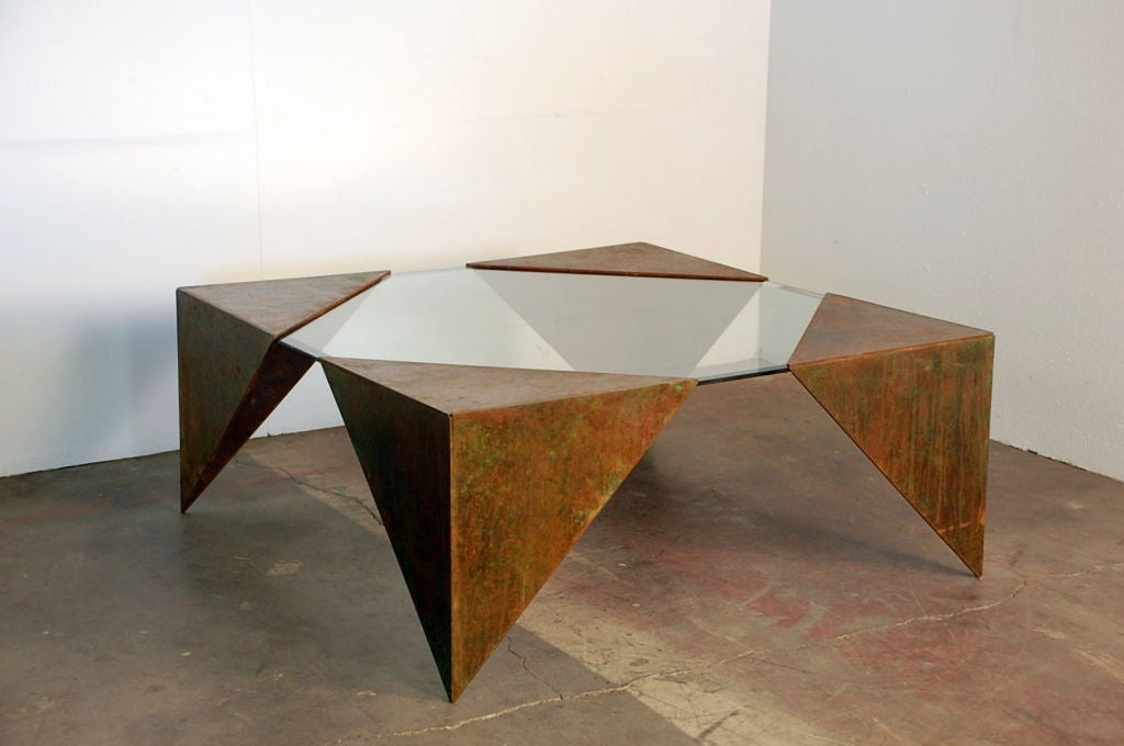 Angular glass and steel plate square coffee table at 1stdibs Metal square coffee table