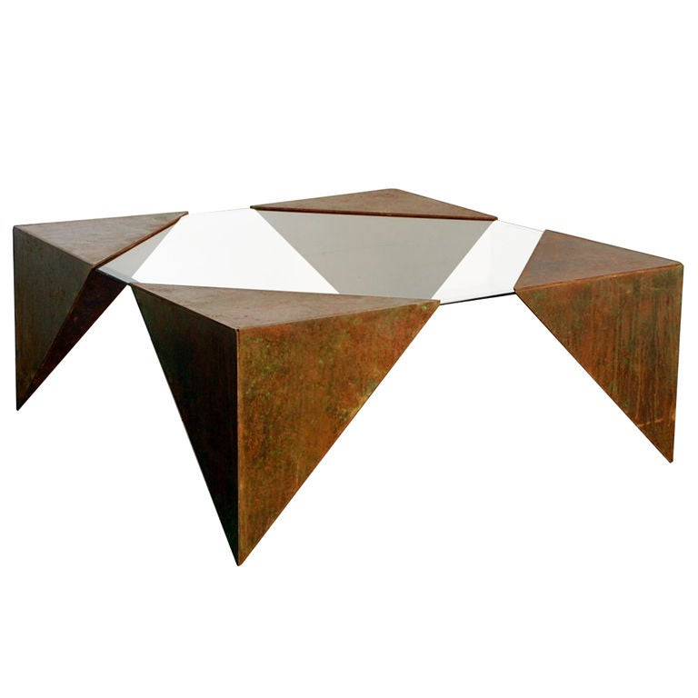 Square Glass And Steel Coffee Table: Angular Glass And Steel Plate Square Coffee Table At 1stdibs