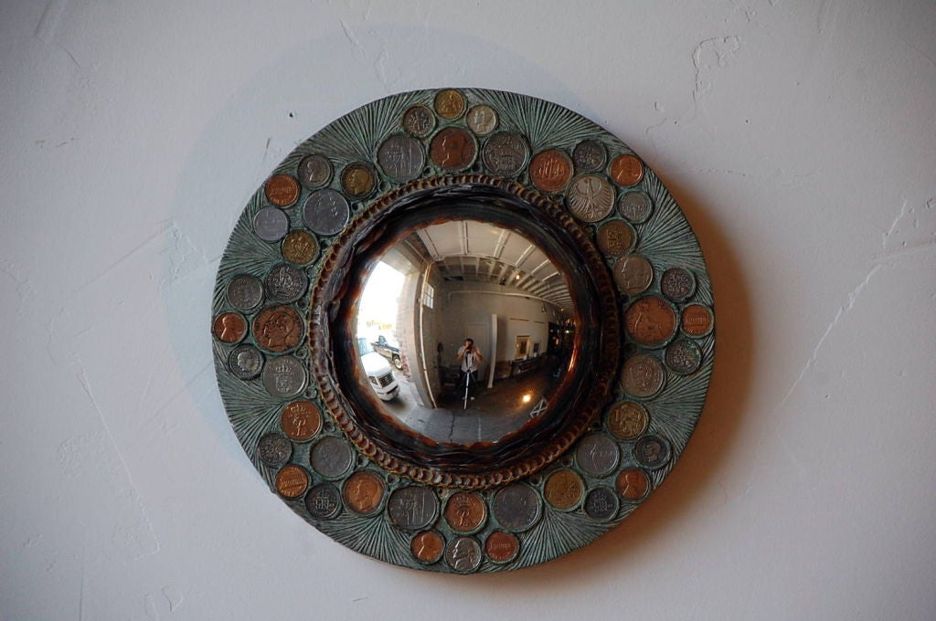 Modern Small Decorative Convex Mirror in the Style of Line Vautrin For Sale