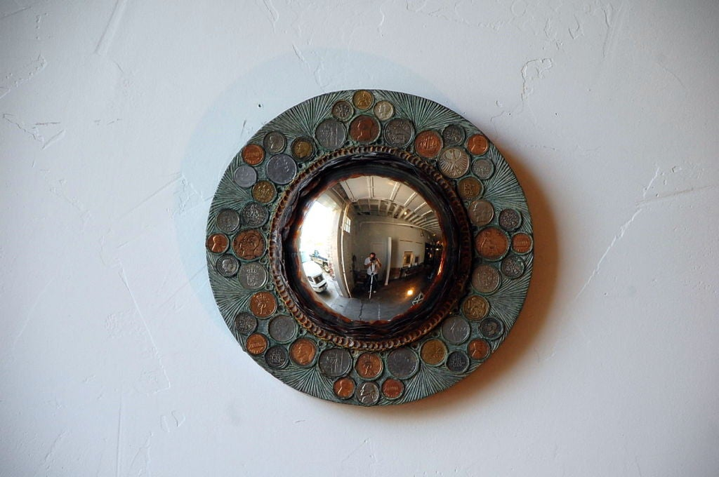 French Small Decorative Convex Mirror in the Style of Line Vautrin For Sale