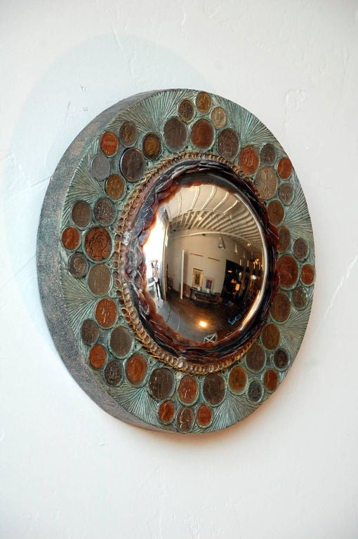 Small Decorative Convex Mirror in the Style of Line Vautrin In Excellent Condition For Sale In Los Angeles, CA