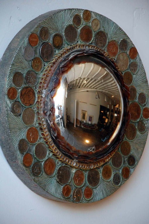 Late 20th Century Small Decorative Convex Mirror in the Style of Line Vautrin For Sale