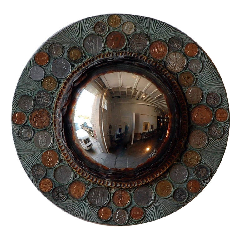 Small Decorative Convex Mirror In The Style Of Line Vautrin For