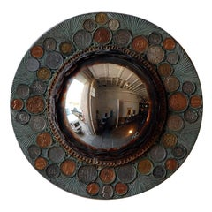 Small Decorative Convex Mirror in the Style of Line Vautrin