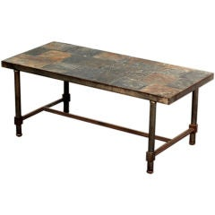 Exceptional steel and slate French 50's coffee table