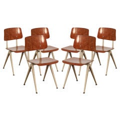 Set of 6 Painted Steel and Laminated Wood Chairs by Friso Kramer