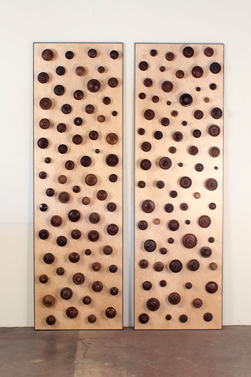 'Boucliers' Pair of Decorative Turned Wood Panels by Eric Thévenot 2