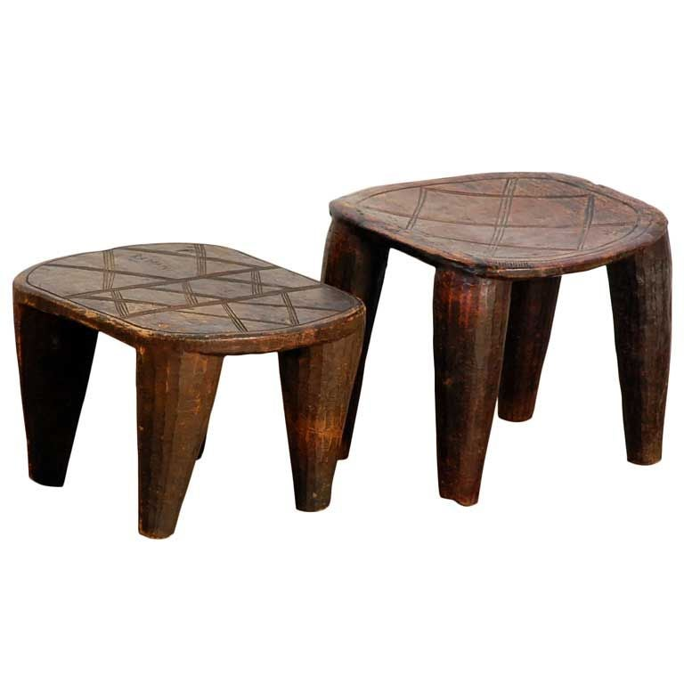 Two Primitive African Carved Wood Stools Side Tables At