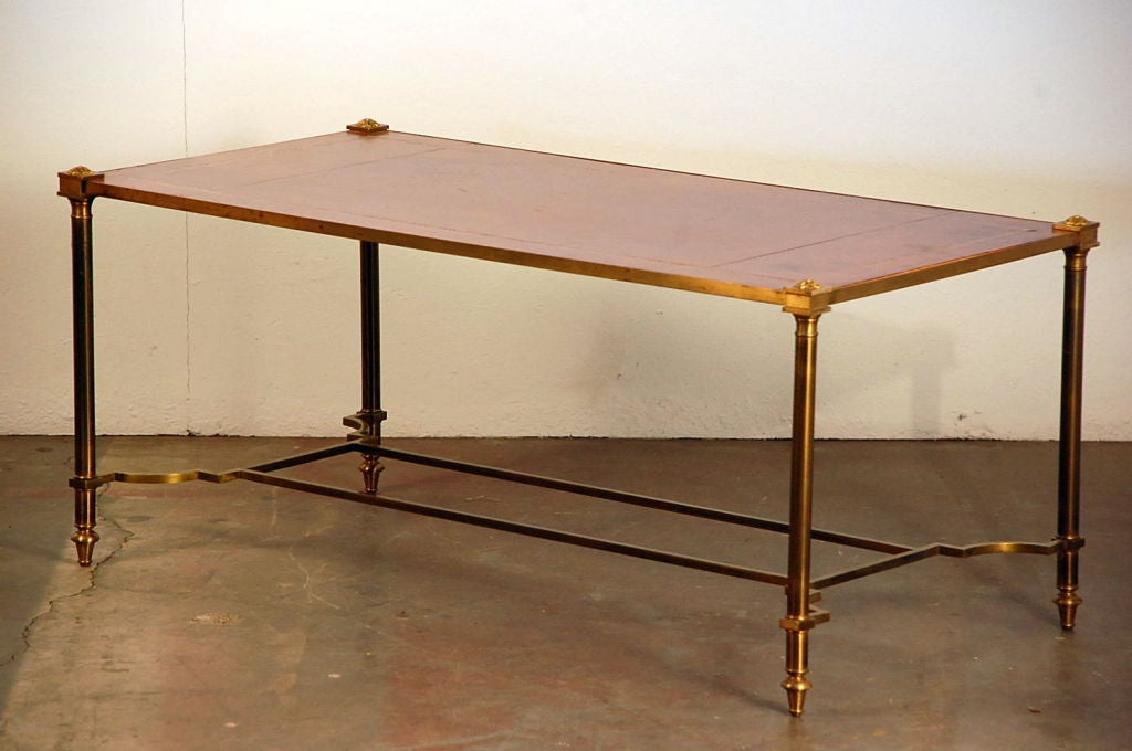 20th Century Chic gilt bronze and leather French 50's coffee table For Sale