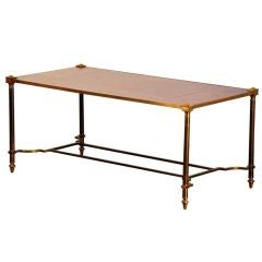 Chic gilt bronze and leather French 50's coffee table