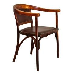 Viennese bent wood and leather desk chair