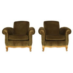 Pair of exceptional French 40's club chairs by Jean Pascaud