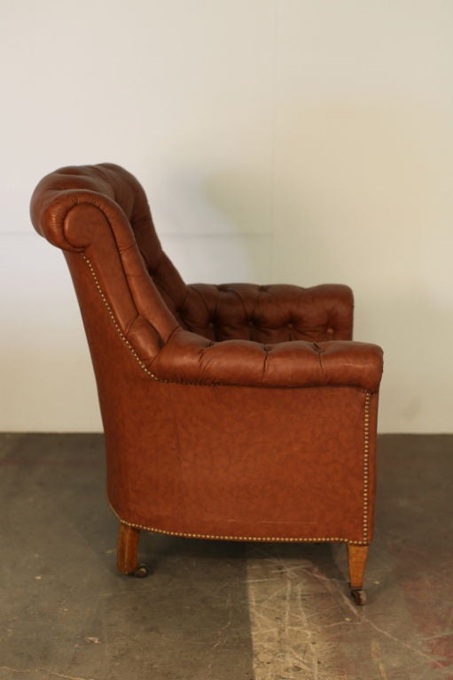 This napoleon iii club chair is no longer available - Classic Tufted Leather Large Napoleon Iii Bergere For Sale
