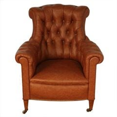 Chic Large Tufted Leather Napoleon III Bergere on Casters