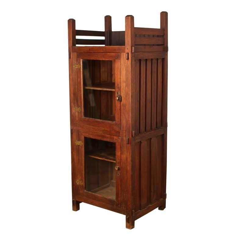 elegant arts and crafts display cabinet at 1stdibs. Black Bedroom Furniture Sets. Home Design Ideas