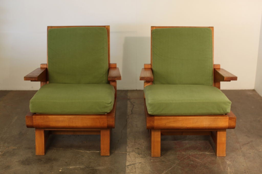 Pair of Heavy French Brutalist Oak Armchairs 4