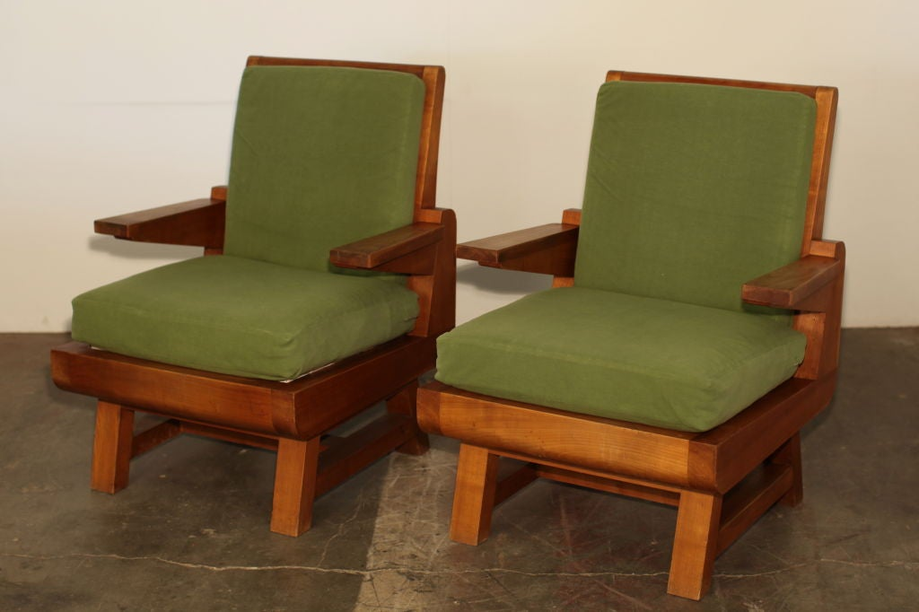 Pair of Heavy French Brutalist Oak Armchairs 3