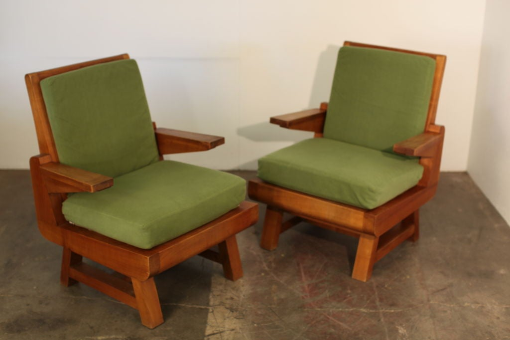 Pair of Heavy French Brutalist Oak Armchairs 2