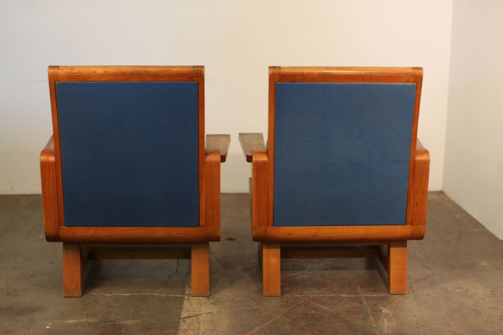 Pair of Heavy French Brutalist Oak Armchairs 6