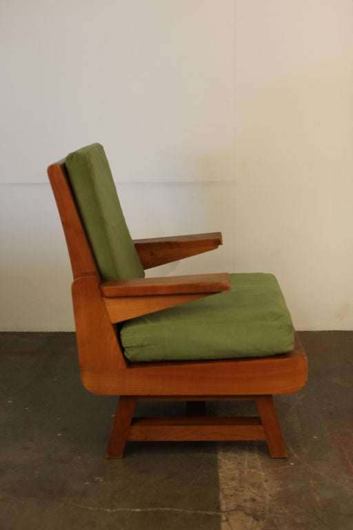 Pair of Heavy French Brutalist Oak Armchairs 5