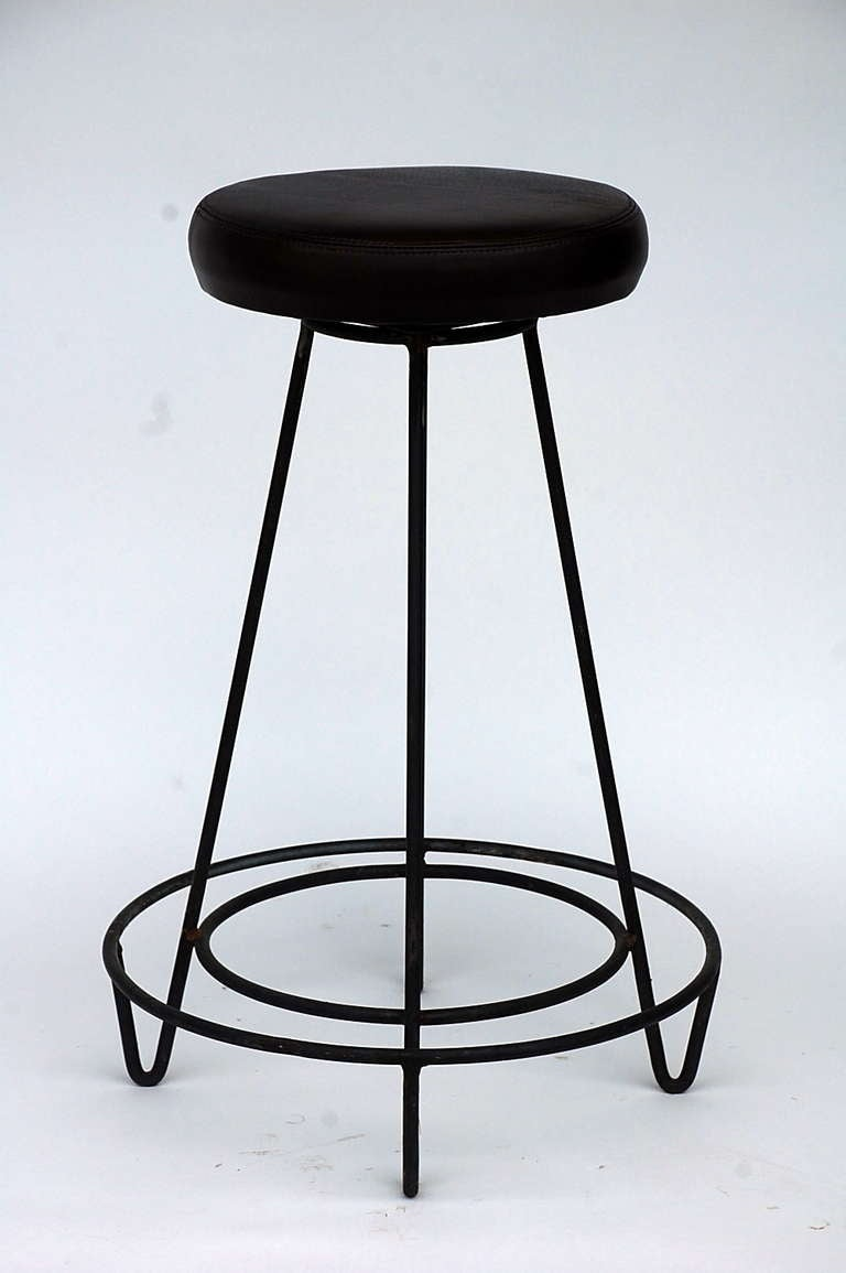 Pair Of Dark Brown Leather Bar Stools At 1stdibs
