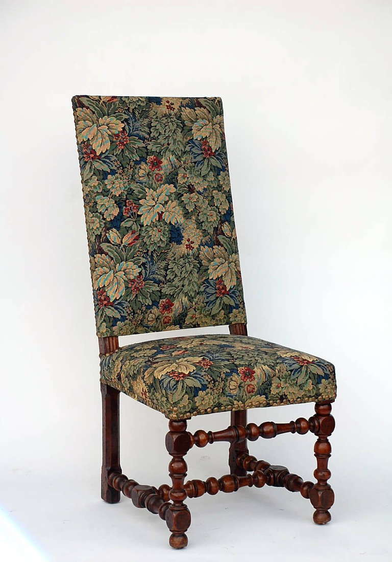 pair of baroque style chairs with floral tapestry for sale