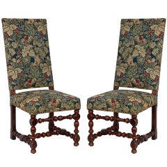 Pair of Baroque Style Chairs with Floral Tapestry