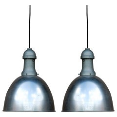 Pair of Industrial Aluminum Dome Lights