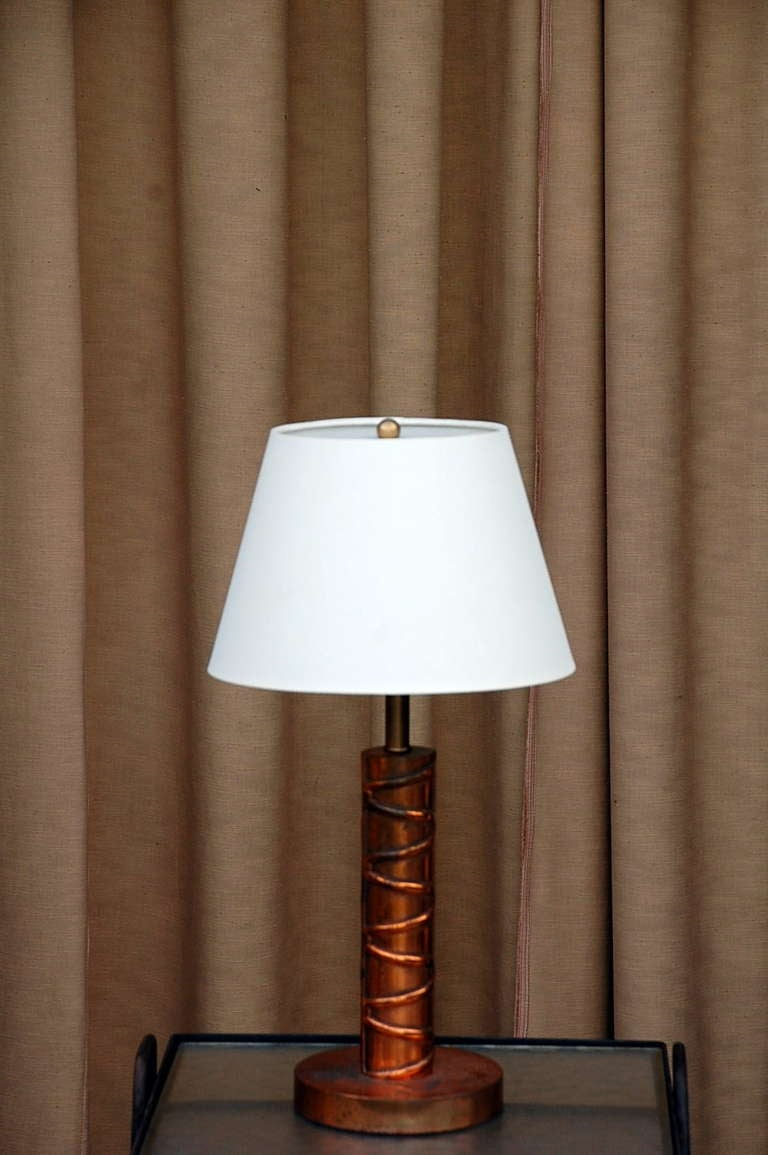 Heavy Copper Table Lamp With Custom Linen Shade For Sale