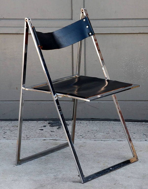 Minimalistic Chrome And Leather Folding Chair Edited By