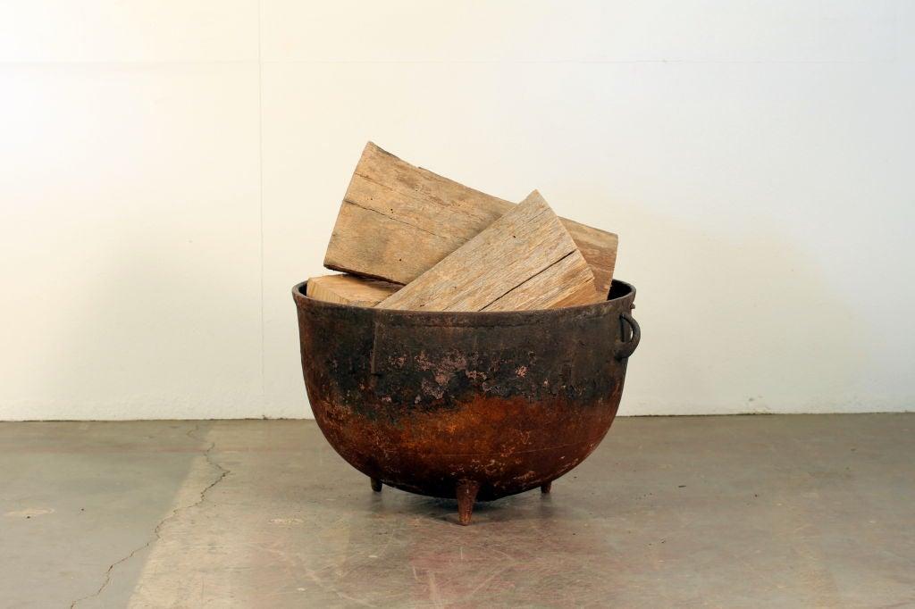Industrial cauldron chimney wood holder 2