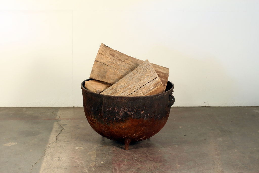 Industrial cauldron chimney wood holder 4