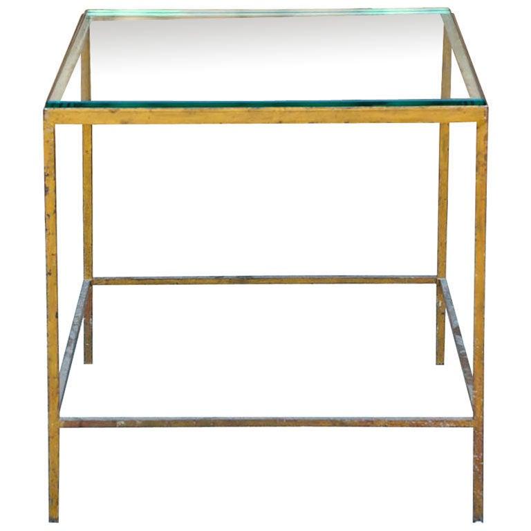 50 s gilt metal and glass side table at 1stdibs