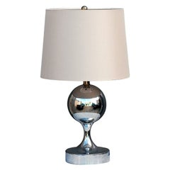 Chic French 1970s Chrome Table or Desk Lamp in the Style of Barbier