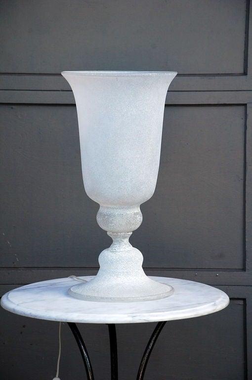 Italian Large Murano Corosso Glass Urn Lamp For Sale